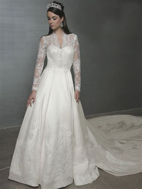 A-Line with Long Sleeves Made in Lace Wedding Dress | Kate
