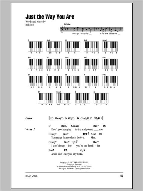 Just The Way You Are sheet music by Billy Joel (Lyrics