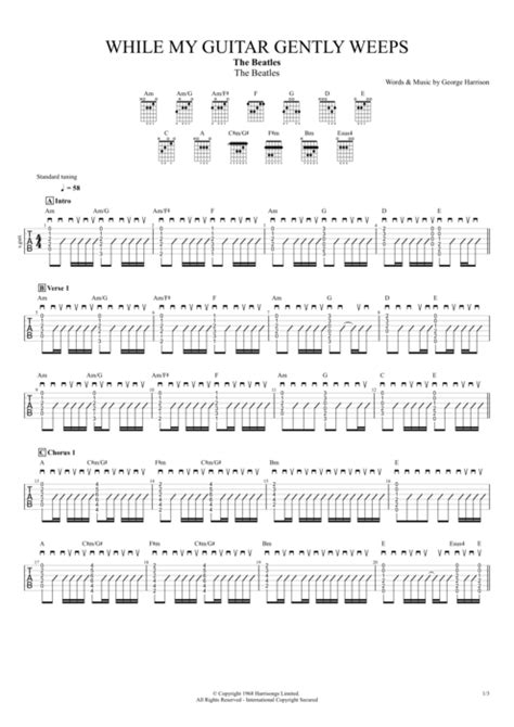 While My Guitar Gently Weeps by The Beatles - Full Score