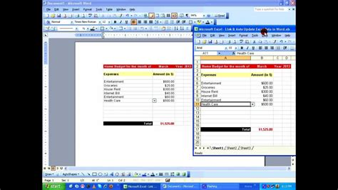 Dynamically Link and Auto Update Excel Data in Word using