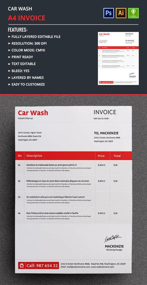 2+ Car Wash Invoice Templates - Word, Excel | Free
