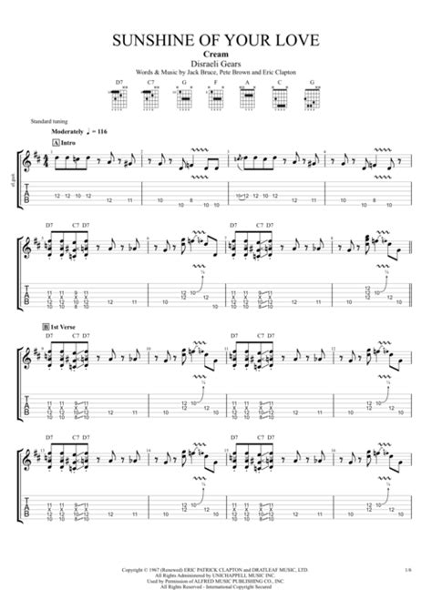 Sunshine of Your Love by Cream - Full Score Guitar Pro Tab