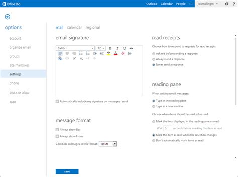 Disabling read receipts for Microsoft Office 365 mailbox