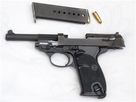 Deactivated Walther P38 9mm pistol dated 1958 with holster