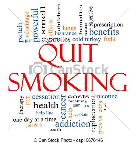 Quit smoking word cloud concept with great terms such as