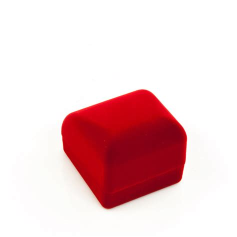 Small Red Flocked Ring Box for Jewelry Display
